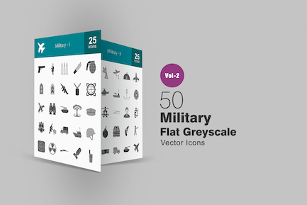 50 Military Greyscale Icons