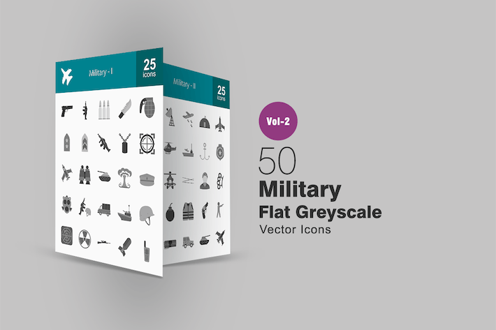 Thumbnail for 50 Military Greyscale Icons