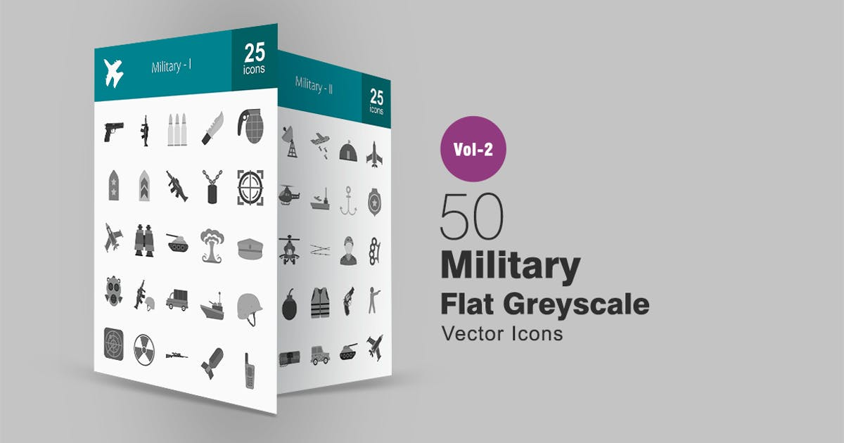 Download 50 Military Greyscale Icons by IconBunny