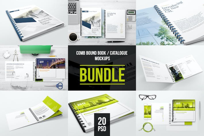Thumbnail for Comb Bound Book / Catalogue Bundle Mockups