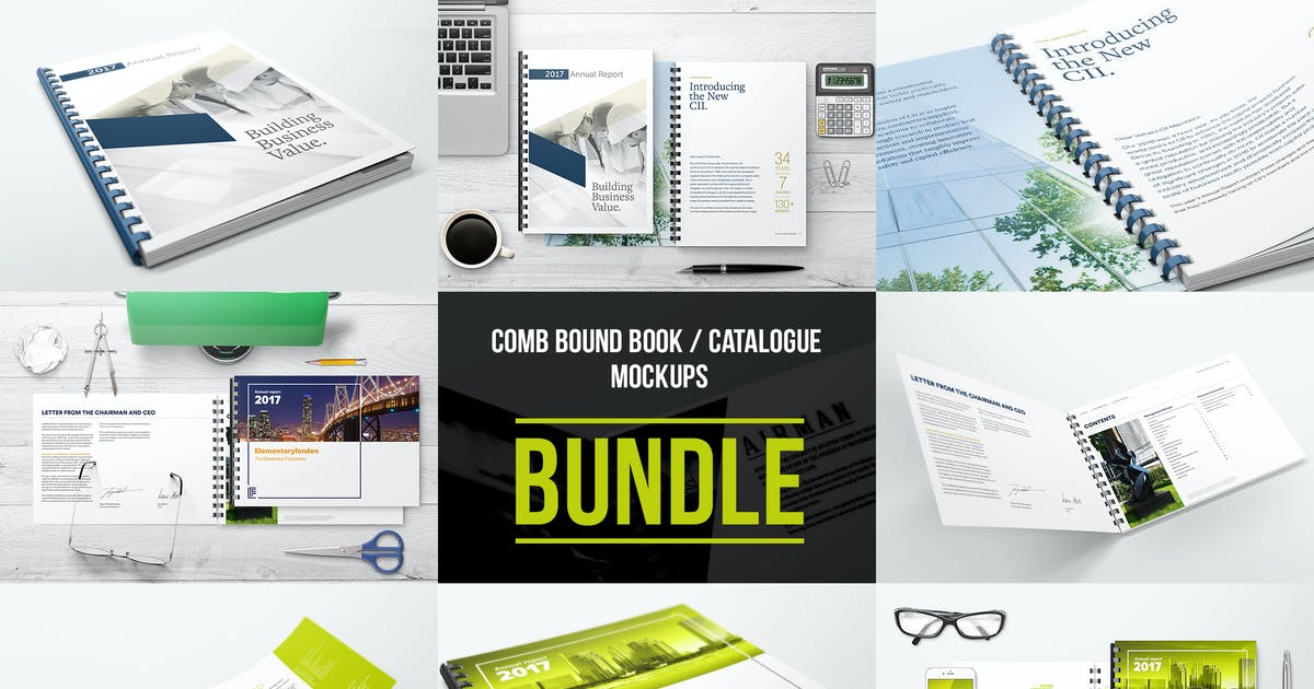 Comb Bound Book / Catalogue Bundle Mockups by StreetD