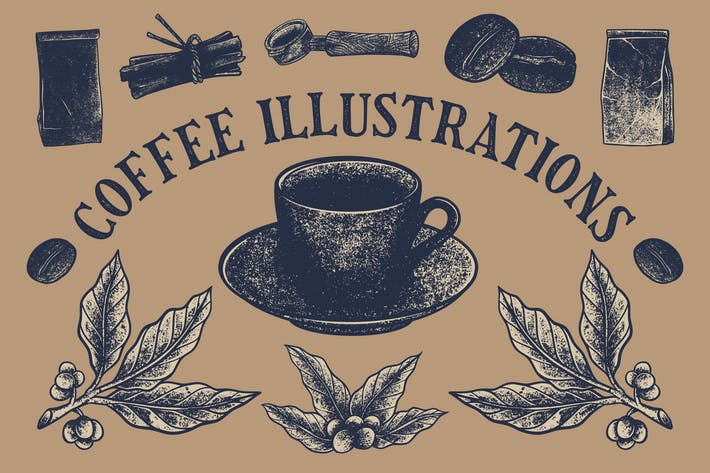 16 Coffee Vintage Illustrations