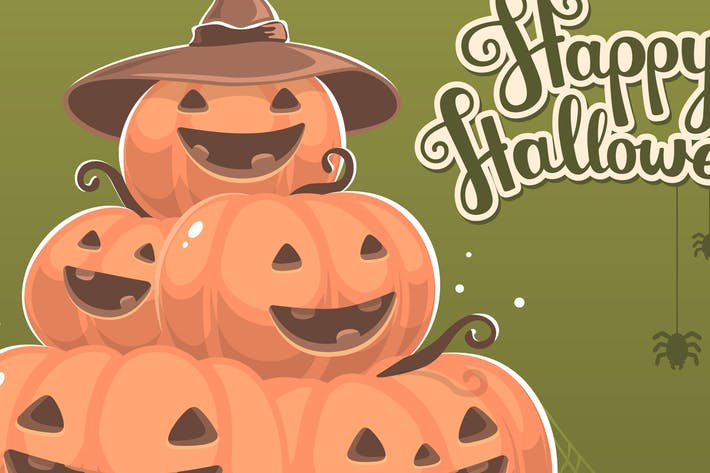Thumbnail for Set of halloween illustrations with pumpkins