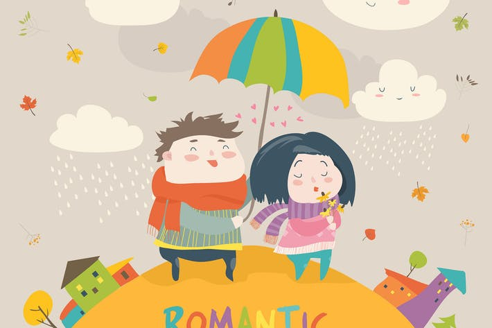 Thumbnail for Cute couple with an umbrella in the autumn rain.