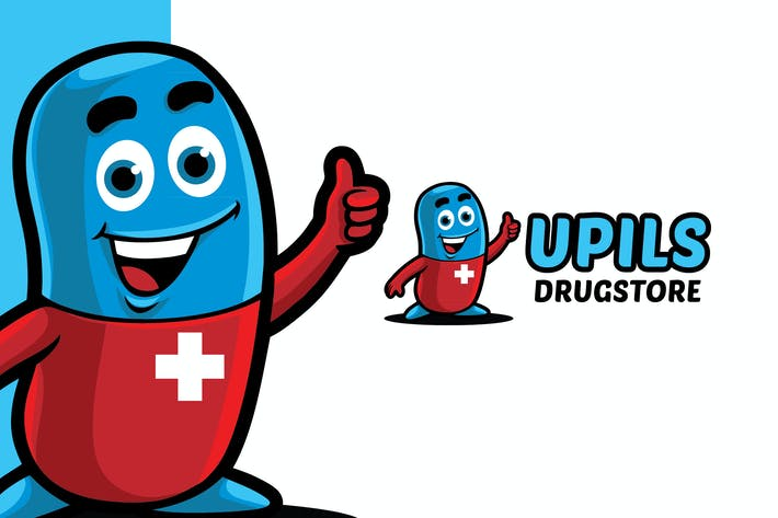 Thumbnail for Drug Store Logo Mascot Template