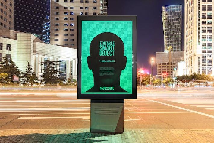 Thumbnail for Городской плакат-билборд Mock-Ups - Ночное издание #2