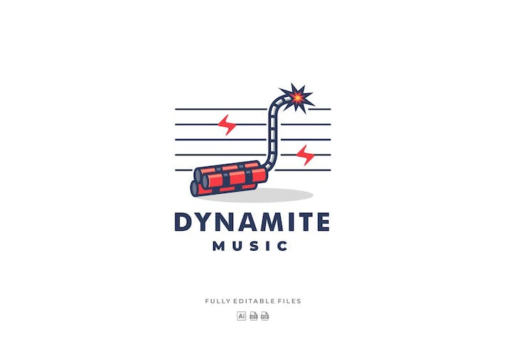 Thumbnail for Dynamite and Music Line Art Style Logo