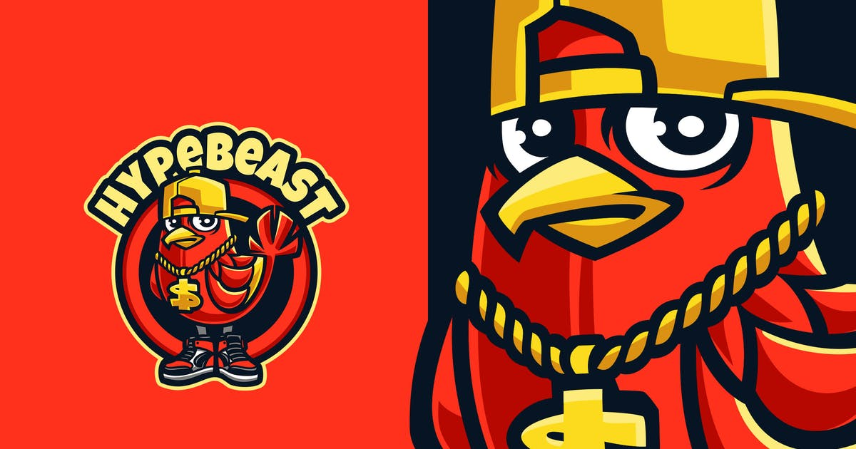 bird hypebeast cartoon logo by blankids on envato elements envato elements
