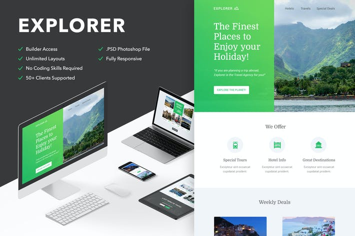 Thumbnail for Explorer - Responsive Email + Themebuilder Access