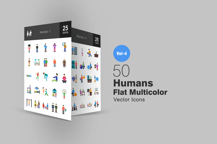 Thumbnail for 50 Humans Flat Multicolor Icons