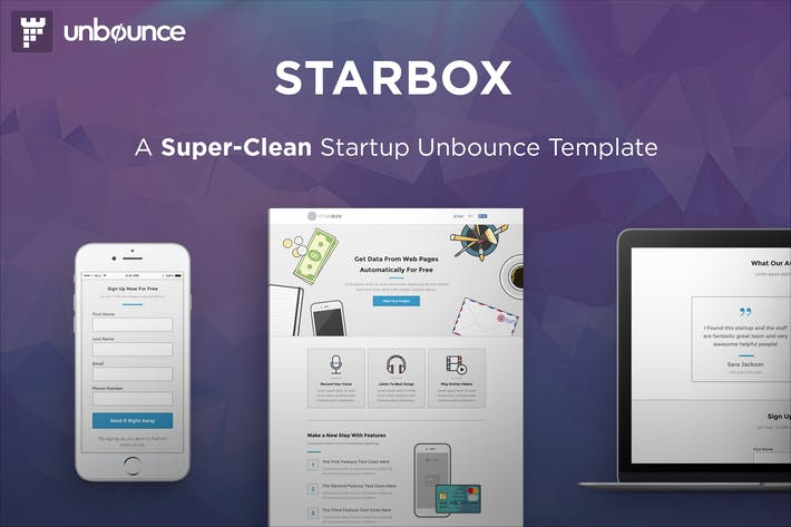 Thumbnail for StarBox - Startup Unbounce Landing Page
