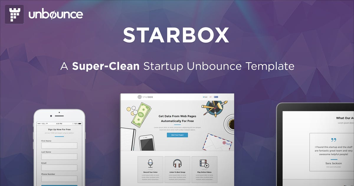 Download StarBox - Startup Unbounce Landing Page by PixFort
