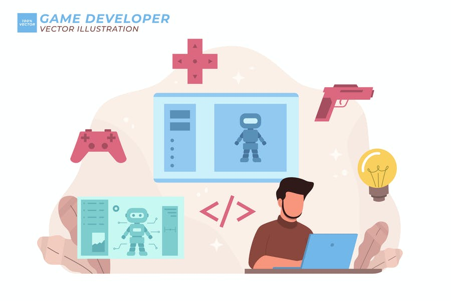 Spieleentwickler Flache Abbildung