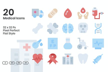 20 Medical Icons Set - Flat