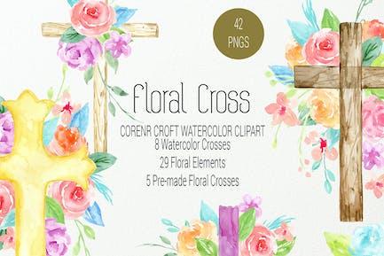 Watercolor clipart floral cross