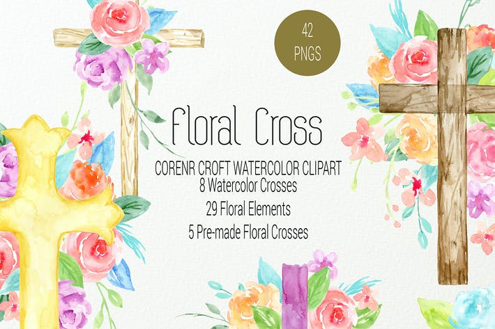 Thumbnail for Watercolor clipart floral cross