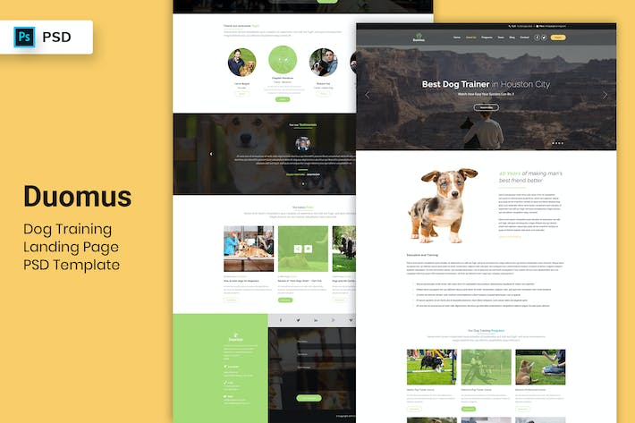 Thumbnail for Dog Training - Landing Page PSD Template-02