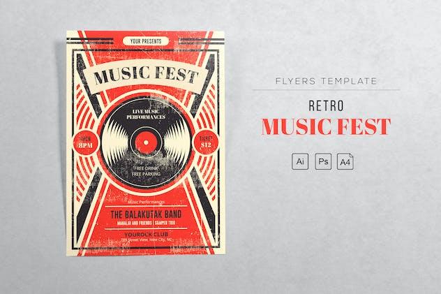 Music Fest Retro Flyers Template