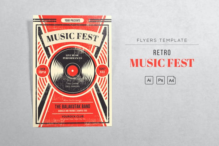 Thumbnail for Music Fest Retro Flyer Vorlage