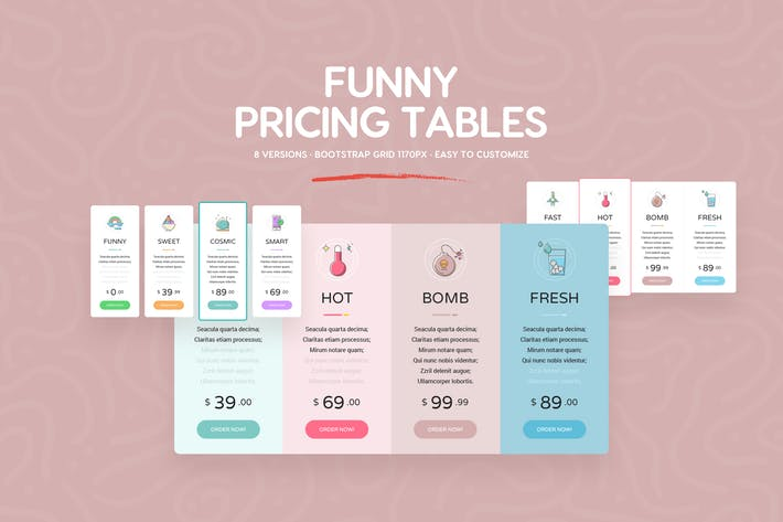 Thumbnail for Funny Pricing Tables - PSD Templates