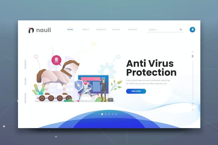 Thumbnail for Antivirus Protection Web PSD and AI Vector Templat