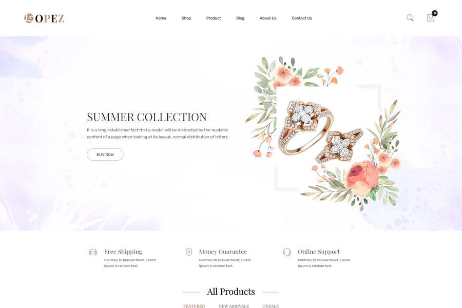 Лопес — Ювелирные изделия Shopify Тема