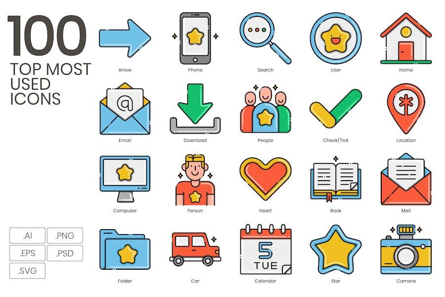 100 am häufigsten verwendete Icons - Ästhetik-Serie