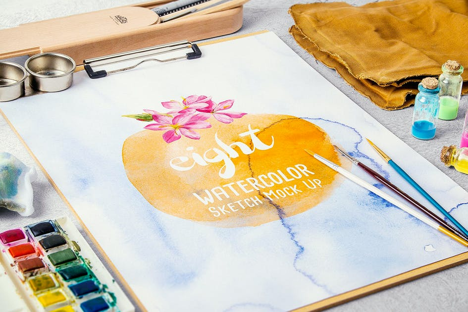 Download Watercolor Paint Mock Up by MockupZone