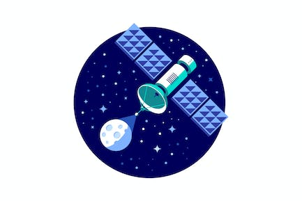 Satellite and planet vector illustration