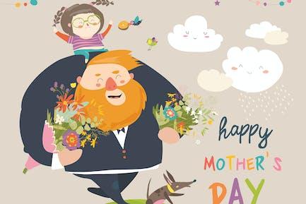 Papa und Tochter tragen Blumen zu Mama. Mütter