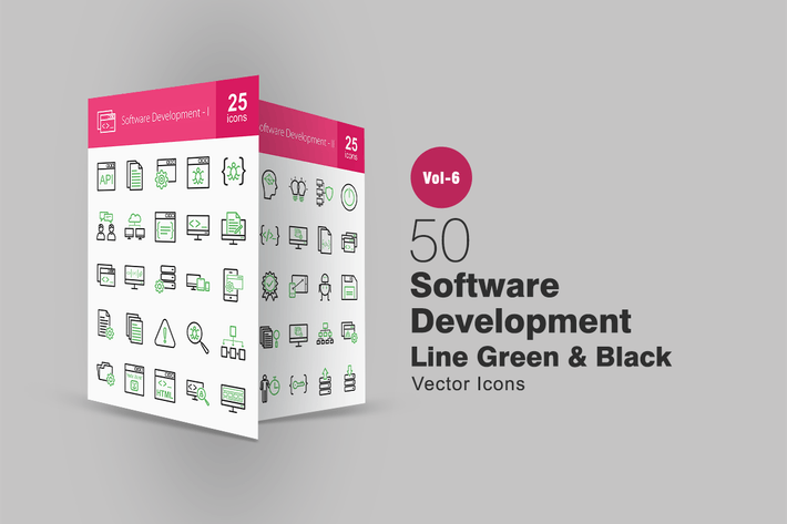 Thumbnail for 50 Software Development Green & Black Line Icons