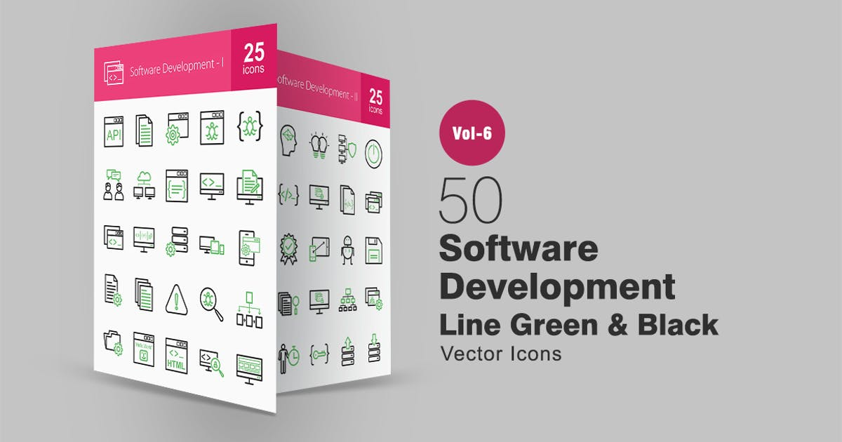 Download 50 Software Development Green & Black Line Icons by IconBunny