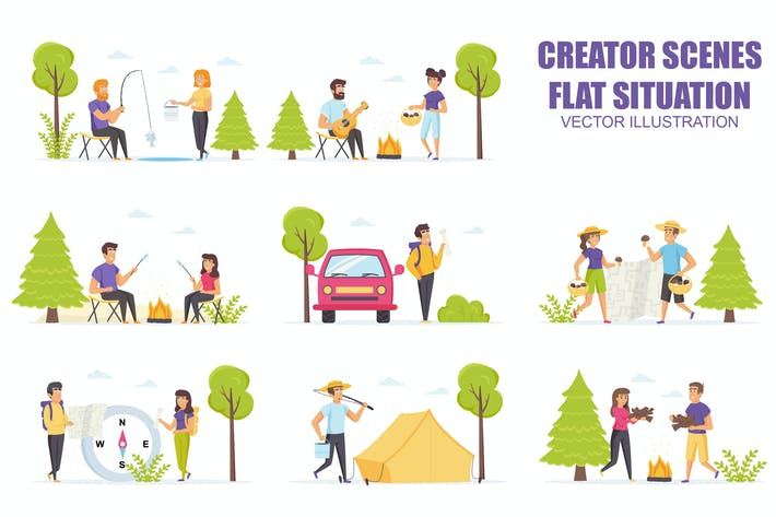 Thumbnail for Collection Summer Camping Flat Scene Situation