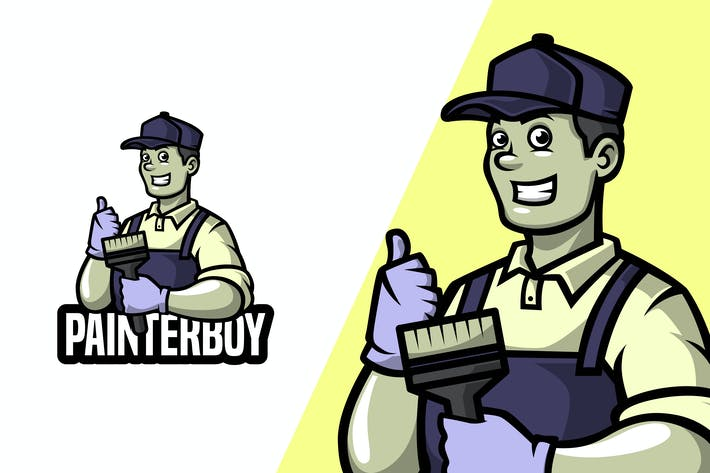 Thumbnail for Painter Boy - Mascot Logo Template