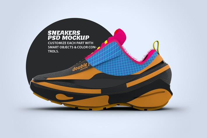 Thumbnail for Sneaker Side View PSD Mock-up