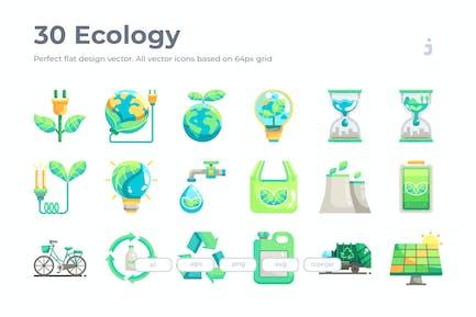 30 Ökologie Icons - Flach