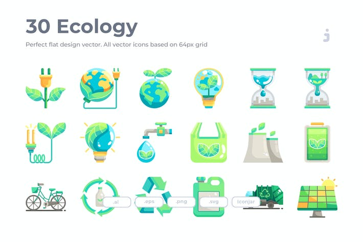 Thumbnail for 30 Ecology Icons - Flat