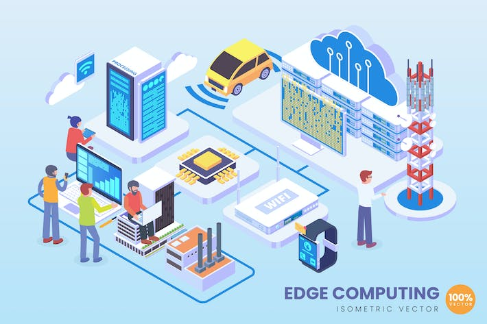 Thumbnail for Isometric Edge Computing Technology Vector Concept