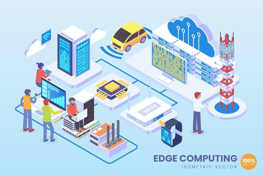 Isometric Edge Computing Technology Vector Concept