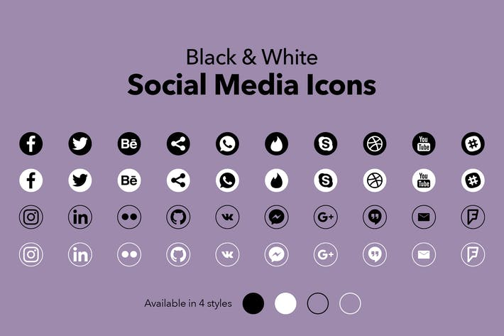 Thumbnail for Black & White Social Media Icons