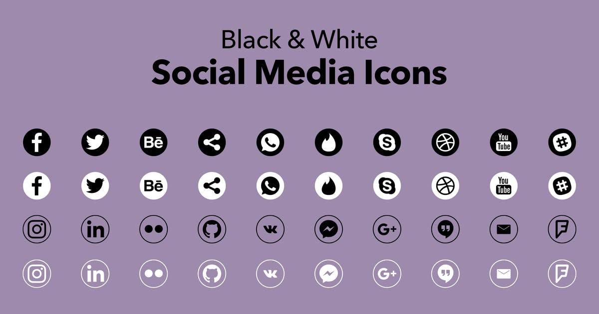 Download Black & White Social Media Icons by CreativesCastle