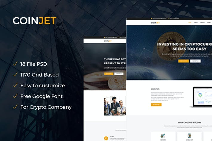 CoinJet | Bitcoin & Crypto Currency Psd Template