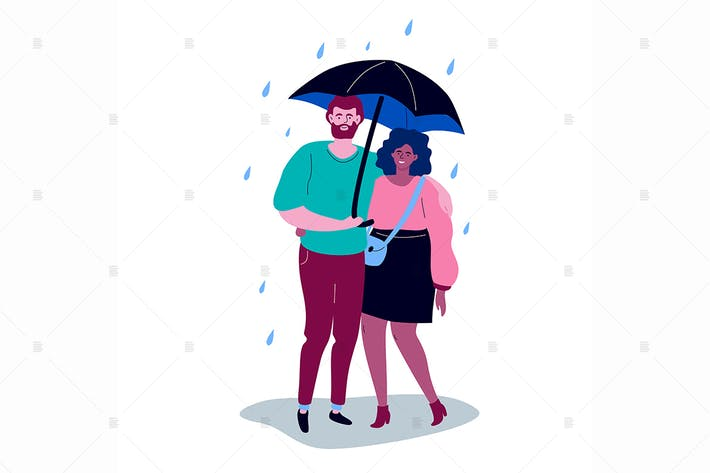 Cover Image For Couple on a date - flat design style characters