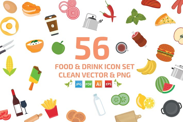 Thumbnail for 56 Food Cooking and Drink Icon set