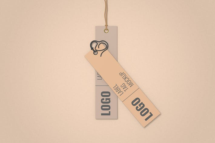 Thumbnail for Pair Clothes Label Tag Mockup Top Angle View