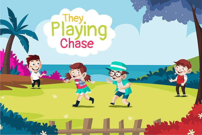 They playing chase - Illustration