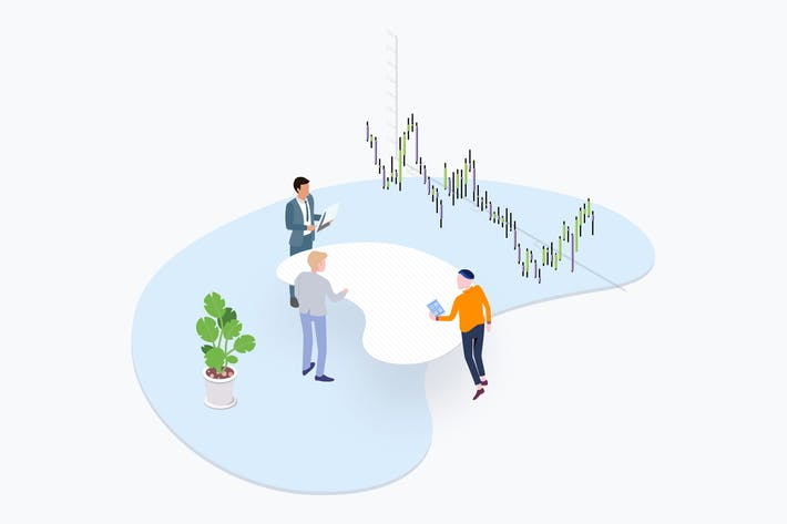 Thumbnail for Trade Coin Team Isometric Illustration