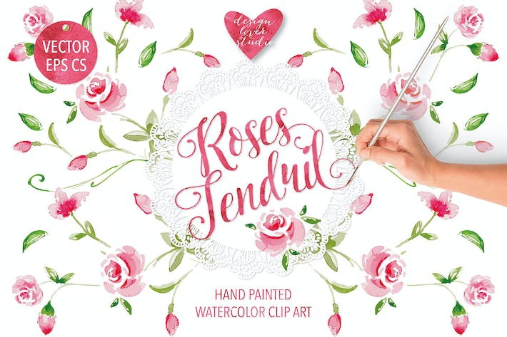 "Thumbnail for Watercolor ""Rose Tendril"" design"