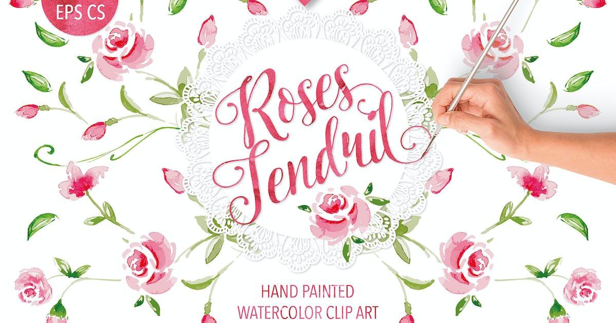 "Download Watercolor ""Rose Tendril"" design by designloverstudio"