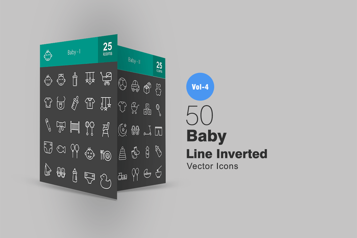 Thumbnail for 50 Baby Line Inverted Icons